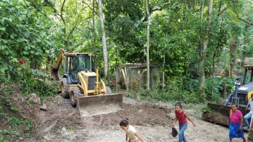 Preparing the drilling site.